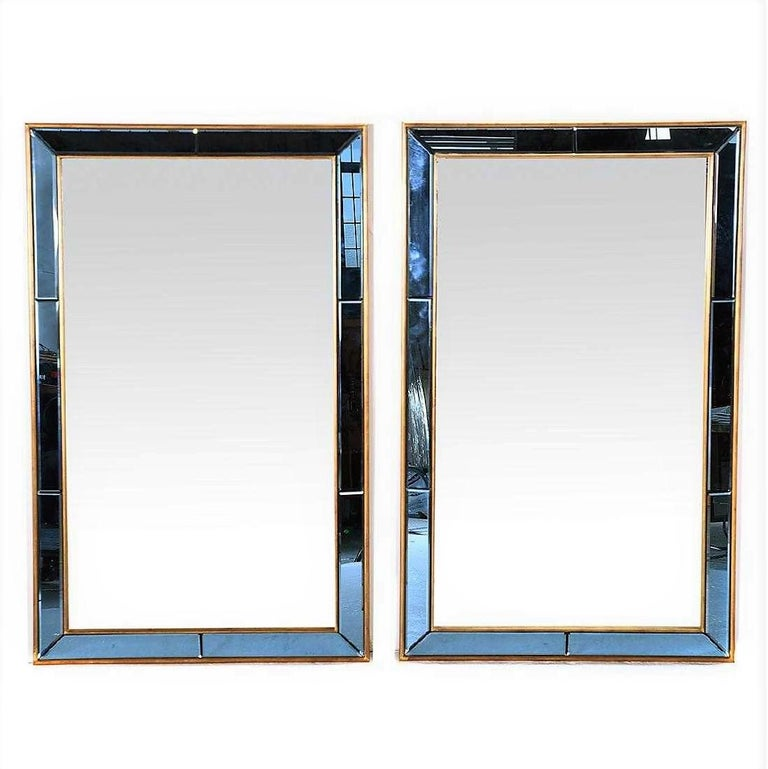 French Pair of Neoclassical Styled Mirrors with Beveled Blue Mirror Surround Panes For Sale