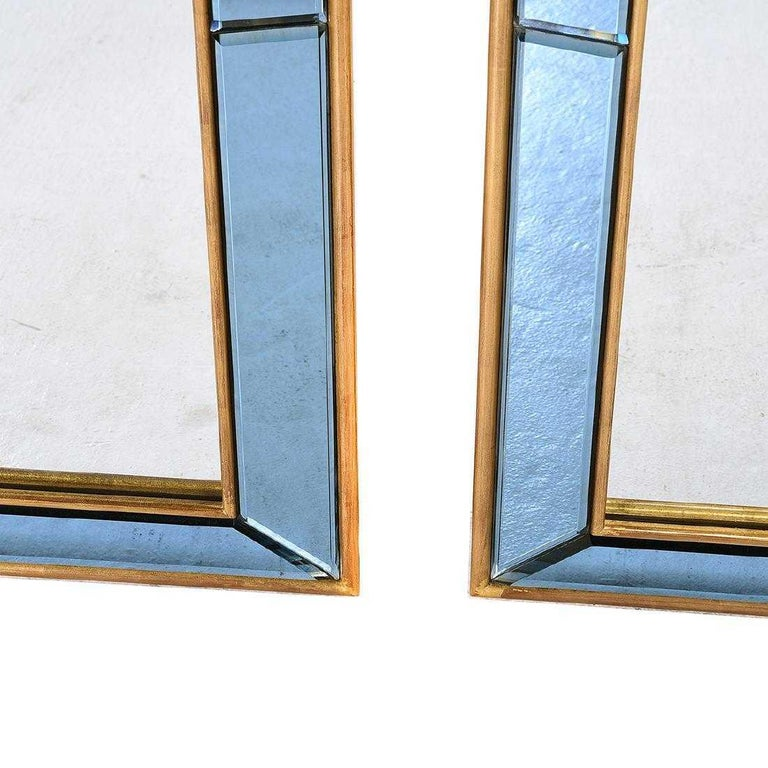 Pair of Neoclassical Styled Mirrors with Beveled Blue Mirror Surround Panes For Sale 6
