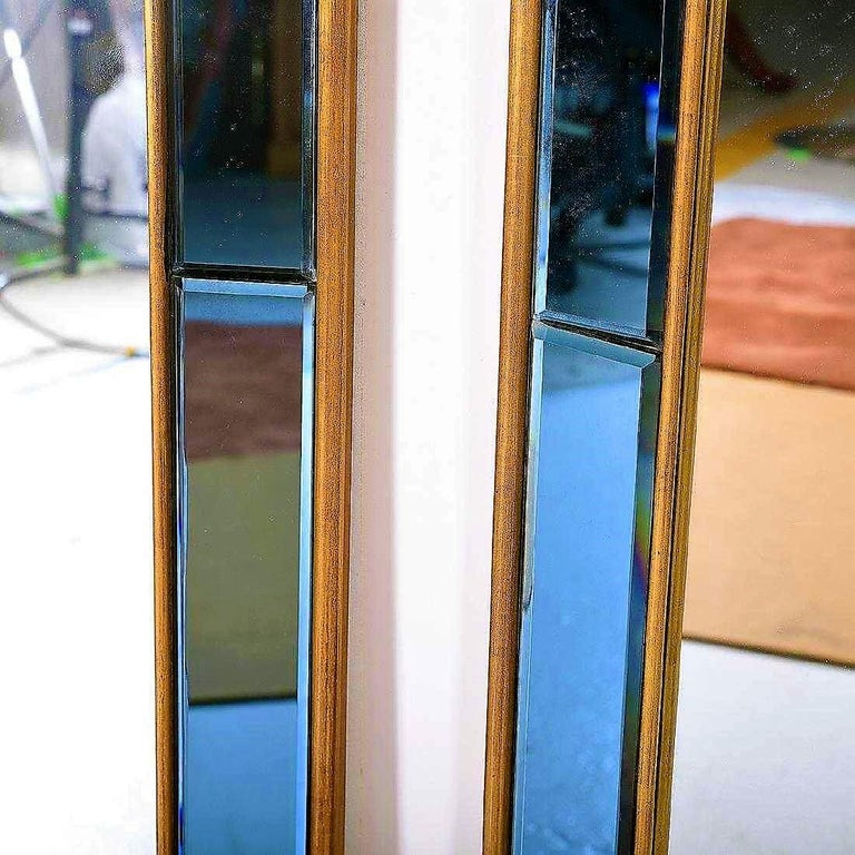 Pair of Neoclassical Styled Mirrors with Beveled Blue Mirror Surround Panes For Sale 5