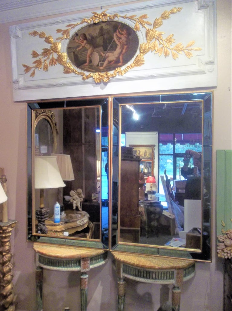 Pair of Neoclassical Styled Mirrors with Beveled Blue Mirror Surround Panes For Sale 4