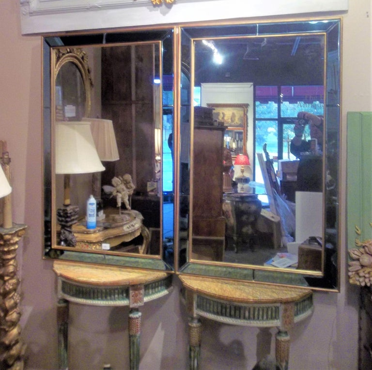 Pair of Neoclassical Styled Mirrors with Beveled Blue Mirror Surround Panes In Good Condition For Sale In Nashville, TN
