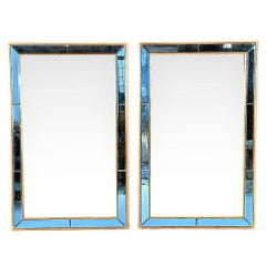 Pair Of Neoclical Styled Mirrors With Beveled Blue Mirror Surround Panes