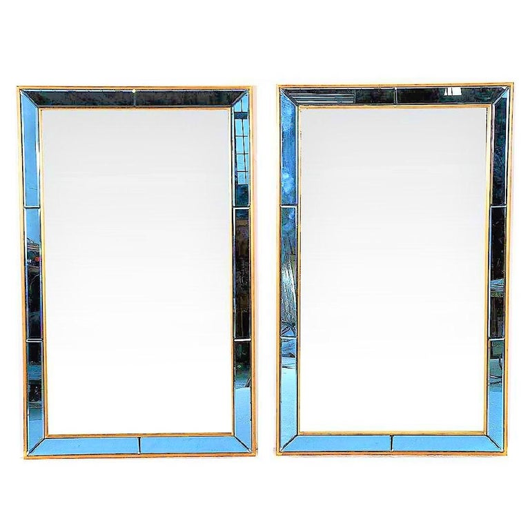 Pair of Neoclassical Styled Mirrors with Beveled Blue Mirror Surround Panes For Sale