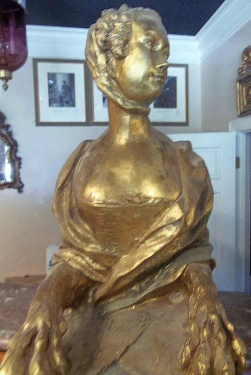 French Madame Pompadour .Depicted as Large Gilt Sphinx