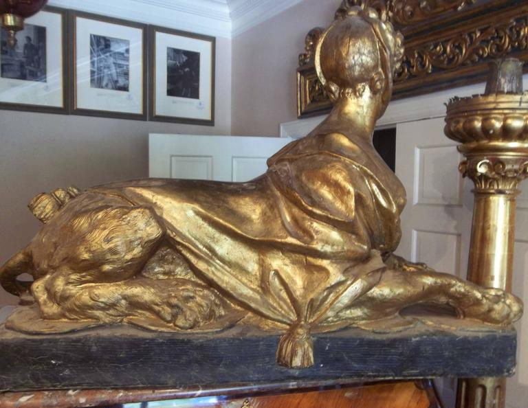 Madame Pompadour .Depicted as Large Gilt Sphinx In Fair Condition In Nashville, TN