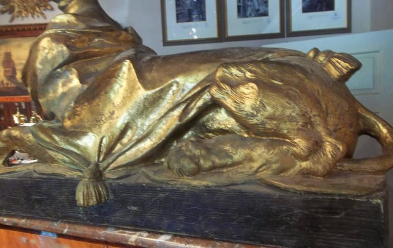 20th Century Madame Pompadour .Depicted as Large Gilt Sphinx