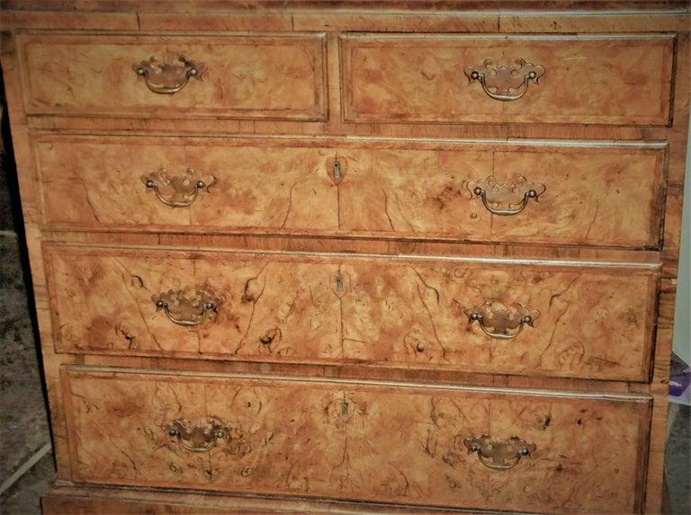 George I Burr Walnut and Walnut Bureau Bookcase In Good Condition For Sale In Nashville, TN
