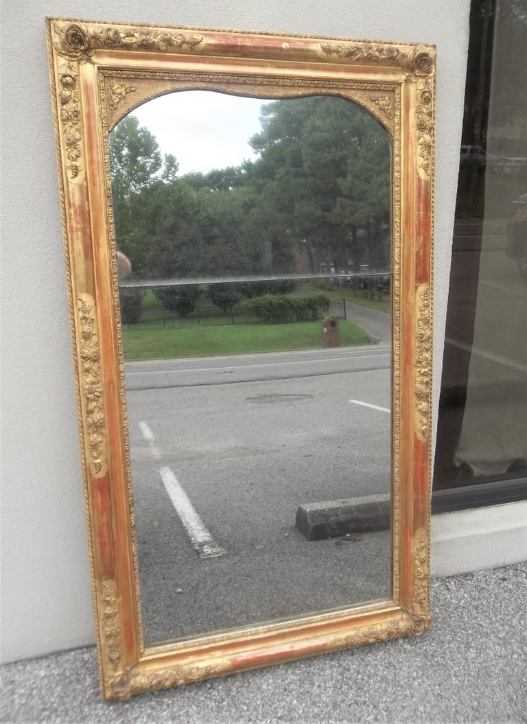 French Colorful Lemon Giltwood Louis XVI Style Mirror With Floral Garlands  For Sale
