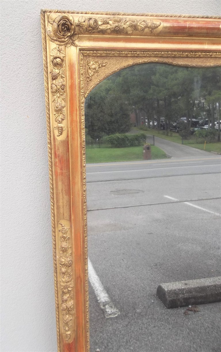 Colorful Lemon Giltwood Louis XVI Style Mirror With Floral Garlands  For Sale 4