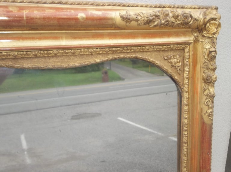 Colorful Lemon Giltwood Louis XVI Style Mirror With Floral Garlands  In Good Condition For Sale In Nashville, TN
