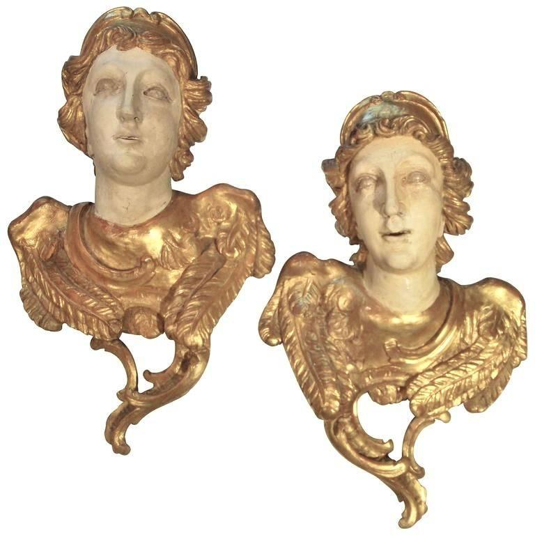Large Pair of Carved Classical Giltwood Busts on Marble Bases For Sale 4