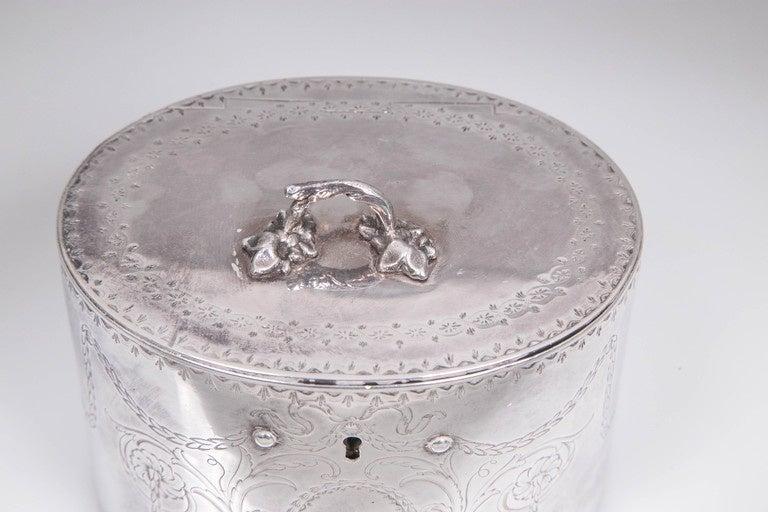Repoussé Antique Sterling Silver Repousse Tea Caddy Box 1786 William Plummer London For Sale