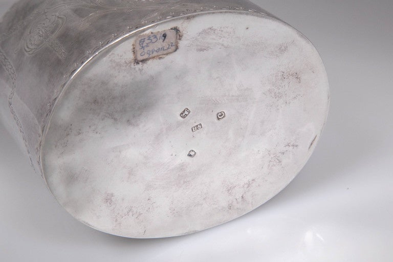 Late 18th Century Antique Sterling Silver Repousse Tea Caddy Box 1786 William Plummer London For Sale