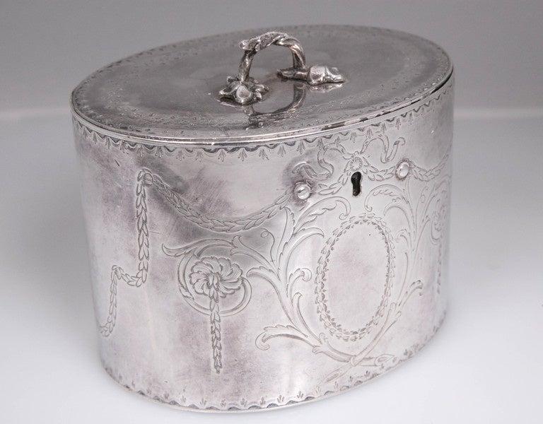 Antique Sterling Silver Repousse Tea Caddy Box 1786 William Plummer London For Sale 1