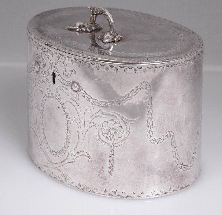 Antique Sterling Silver Repousse Tea Caddy Box 1786 William Plummer London For Sale 3