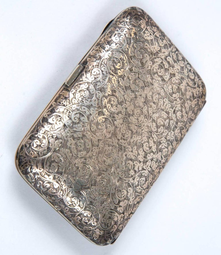 ec6b4fef5e7f Antique 1886 English sterling silver cigarette case or what not case.  Stunning motif hand