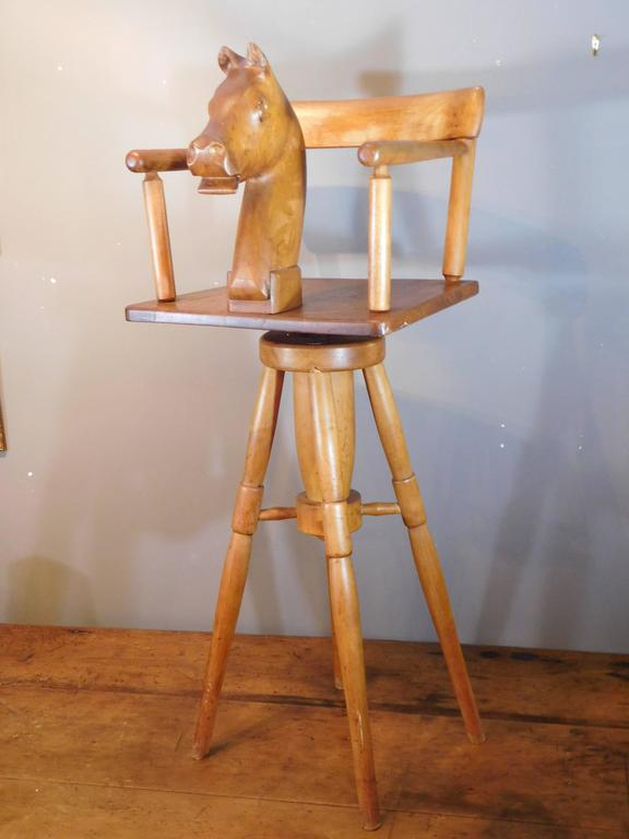 Child S Barber Chair With Carved Horse Head And Rotating