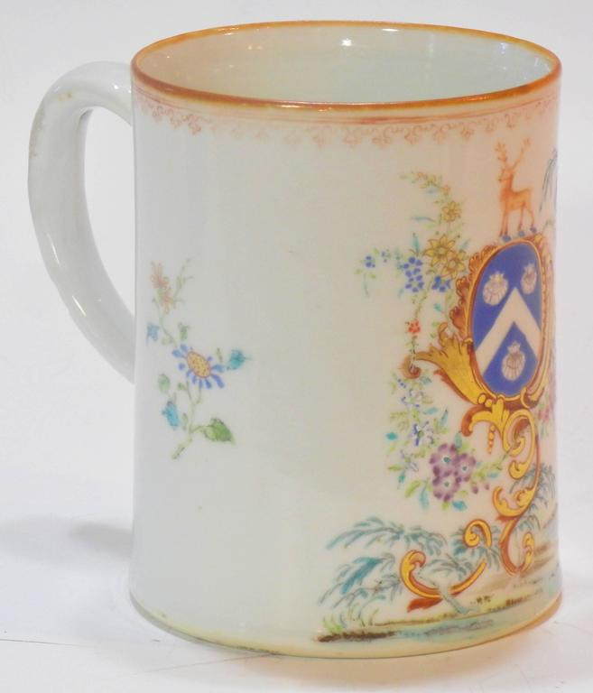 Mid-18th Century Rococo Chinese Export St. James Armorial Tankard For Sale