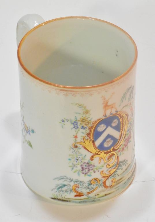 Enamel Rococo Chinese Export St. James Armorial Tankard For Sale