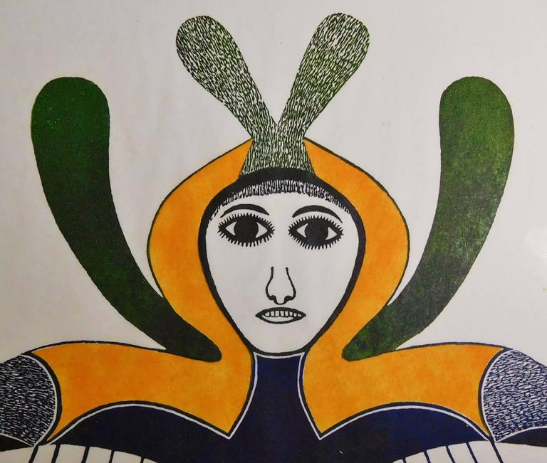 This vision of the Canadian artist Ningeeuga Oshuitoq (1918-1980) reflects the strong female spirit of the Inuit woman and her closeness with Nature and the spirit world.