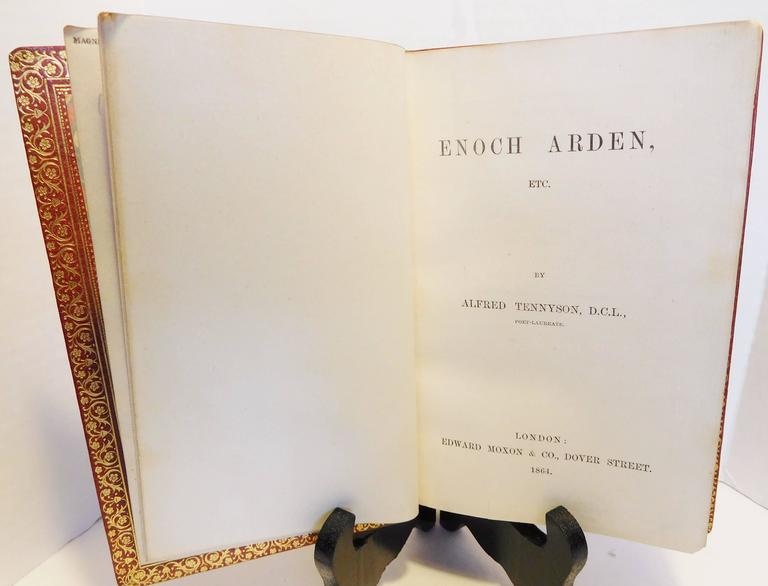 Hand-Crafted Alfred Tennyson, Poet Laureate, 1st Edition of Enoch Arden, Etc, 1864, Leather For Sale