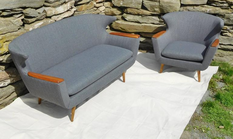Scandinavian Wingback Two Seat Sofa And Chair Set Mid