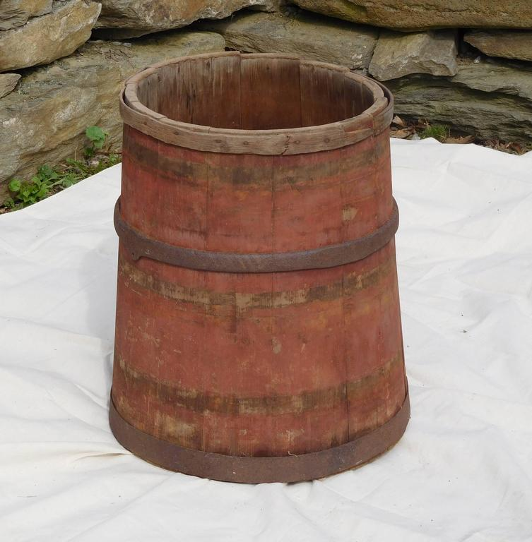 This large sap gathering barrel was used on a Vermont farm sledge to hold sap collected from the smaller tree buckets in the sugarbush, and then transported by horse or ox team back to the sugar shack for boiling down to maple syrup. It was a