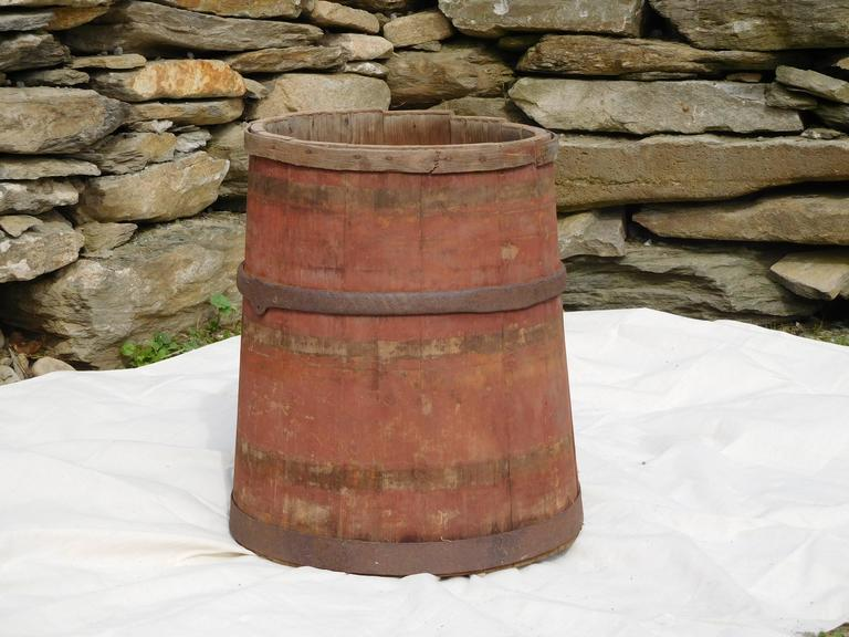 Country Large Master Maple Sap Collecting Barrel in Old Red Wash, Vermont, circa 1880 For Sale