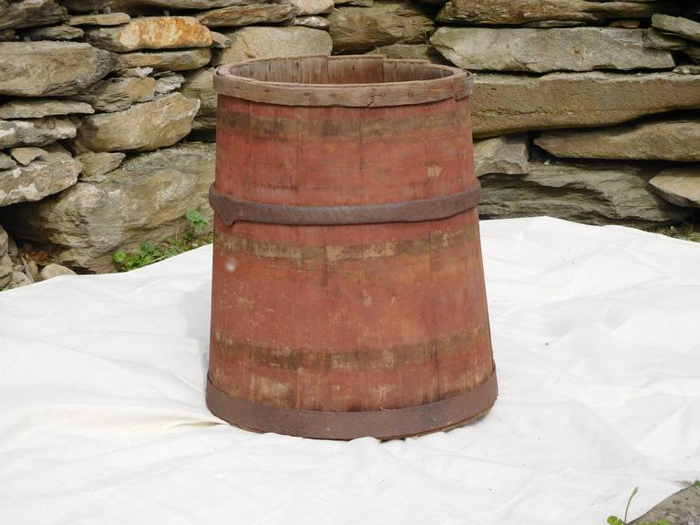 American Large Master Maple Sap Collecting Barrel in Old Red Wash, Vermont, circa 1880 For Sale