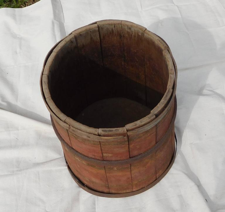 19th Century Large Master Maple Sap Collecting Barrel in Old Red Wash, Vermont, circa 1880 For Sale