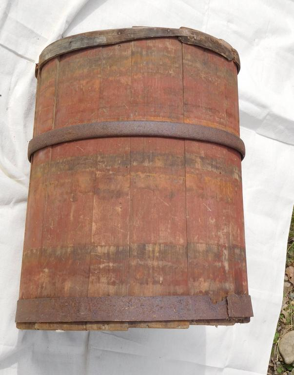 Iron Large Master Maple Sap Collecting Barrel in Old Red Wash, Vermont, circa 1880 For Sale