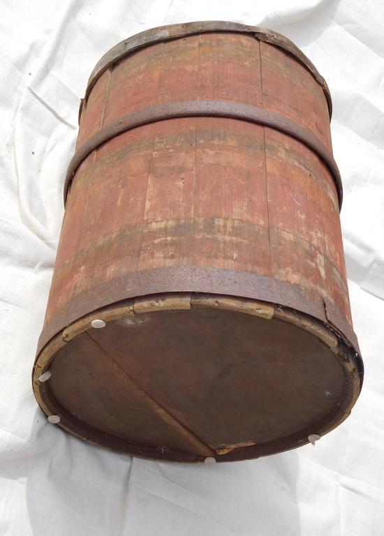 Large Master Maple Sap Collecting Barrel in Old Red Wash, Vermont, circa 1880 For Sale 1