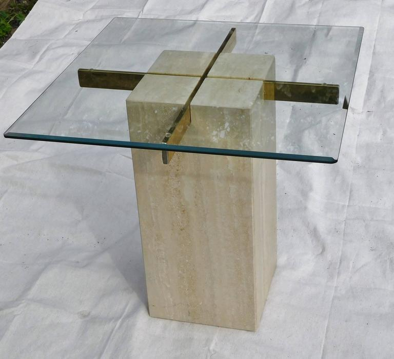 Modern Artedi Vintage Occasional Table in Travertine, Brass, Beveled Glass, circa 1985 For Sale
