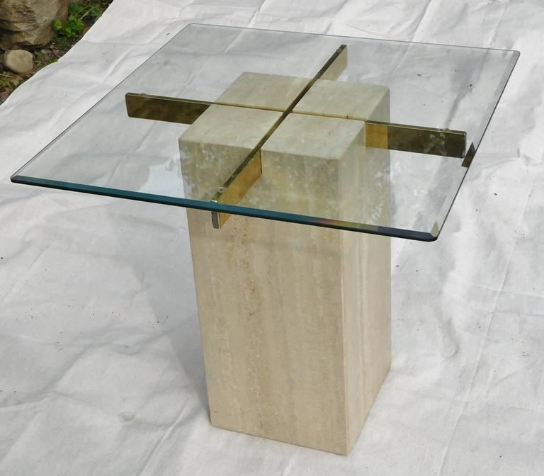 Italian Artedi Vintage Occasional Table in Travertine, Brass, Beveled Glass, circa 1985 For Sale