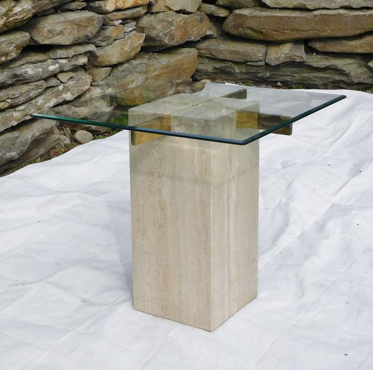 Artedi Vintage Occasional Table in Travertine, Brass, Beveled Glass, circa 1985 In Good Condition For Sale In Quechee, VT
