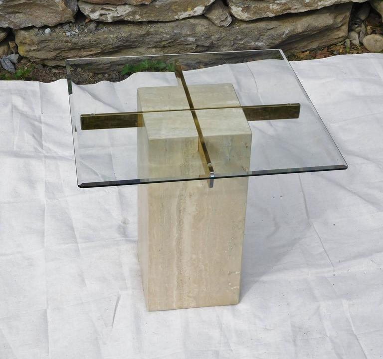 Late 20th Century Artedi Vintage Occasional Table in Travertine, Brass, Beveled Glass, circa 1985 For Sale