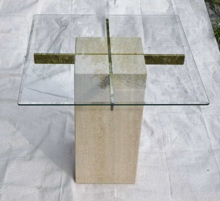 Artedi Vintage Occasional Table in Travertine, Brass, Beveled Glass, circa 1985 For Sale 1