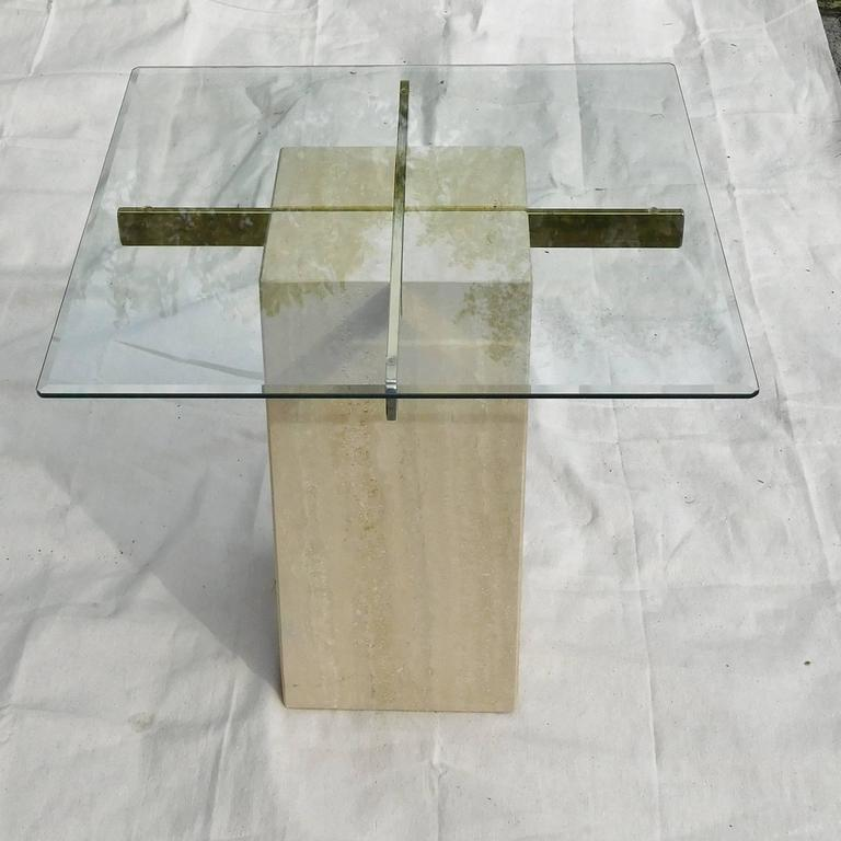 Artedi Vintage Occasional Table in Travertine, Brass, Beveled Glass, circa 1985 For Sale 2