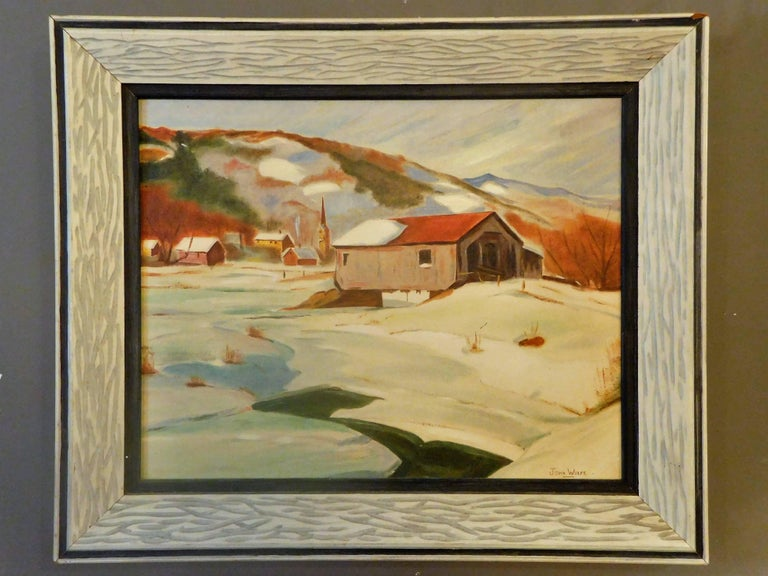 New England Winter Day, John Wolfe, Oil Paint on Academy Board, circa 1950 For Sale 3