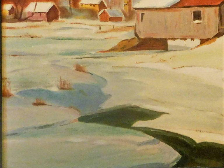 Expressionist New England Winter Day, John Wolfe, Oil Paint on Academy Board, circa 1950 For Sale