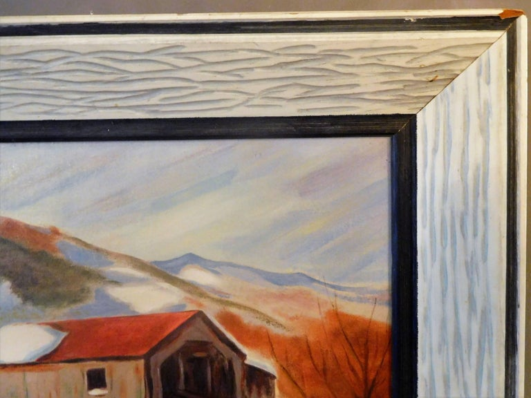 New England Winter Day, John Wolfe, Oil Paint on Academy Board, circa 1950 For Sale 1