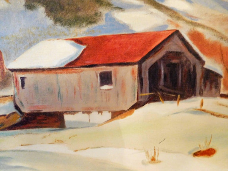 New England Winter Day, John Wolfe, Oil Paint on Academy Board, circa 1950 In Good Condition For Sale In Quechee, VT