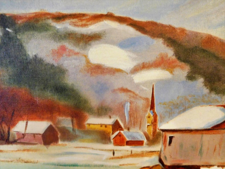 20th Century New England Winter Day, John Wolfe, Oil Paint on Academy Board, circa 1950 For Sale
