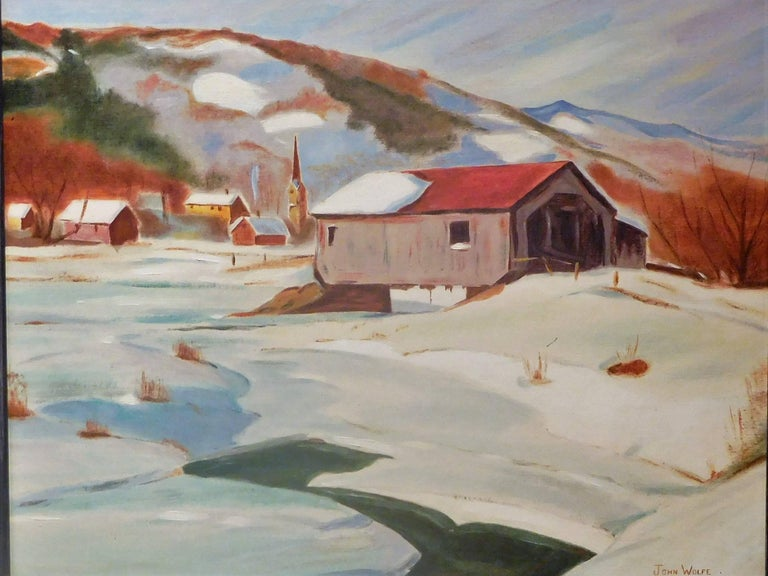 American New England Winter Day, John Wolfe, Oil Paint on Academy Board, circa 1950 For Sale