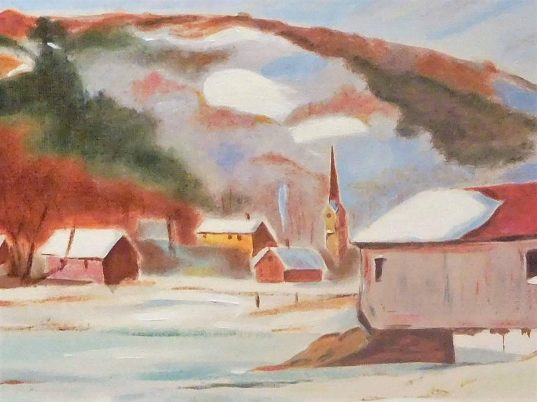 Brushed New England Winter Day, John Wolfe, Oil Paint on Academy Board, circa 1950 For Sale