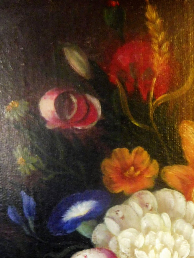Beaux Arts Still Life with Flowers, Josef K. Steiner, Small Oil Painting on Canvas