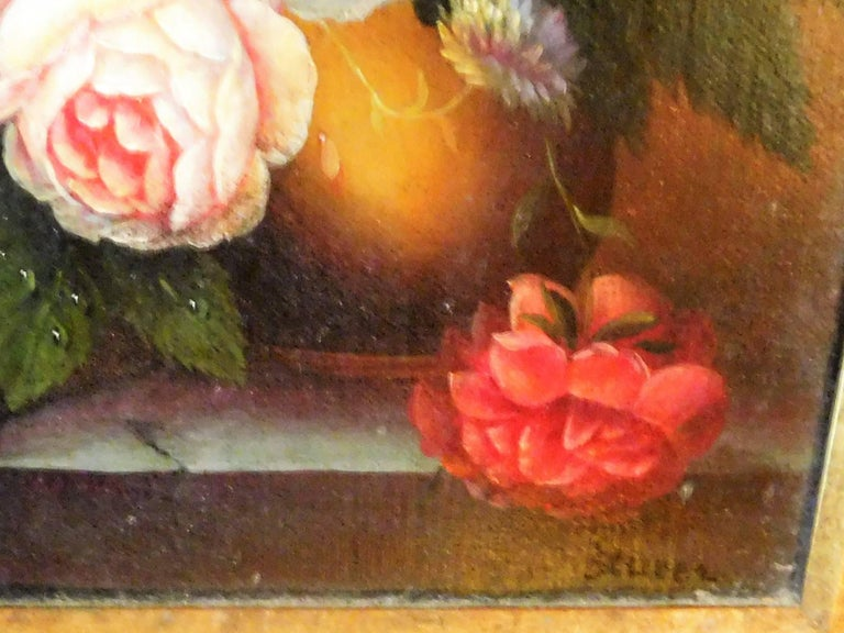 Hand-Painted Still Life with Flowers, Josef K. Steiner, Small Oil Painting on Canvas