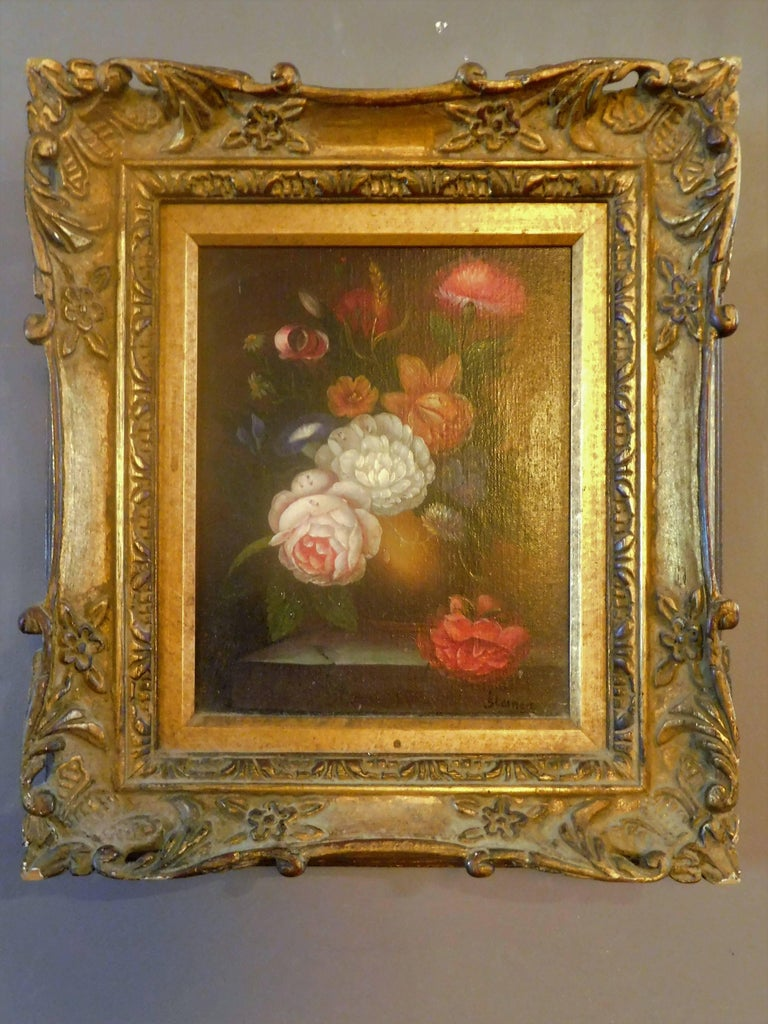 20th Century Still Life with Flowers, Josef K. Steiner, Small Oil Painting on Canvas