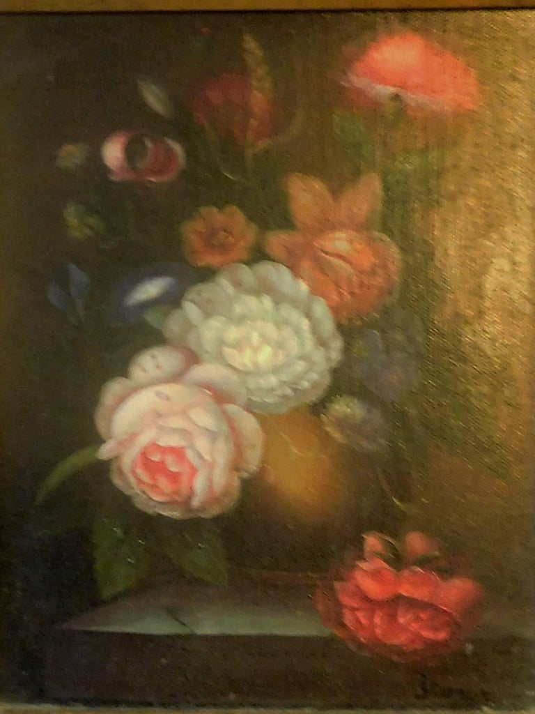 Still Life with Flowers, Josef K. Steiner, Small Oil Painting on Canvas 2