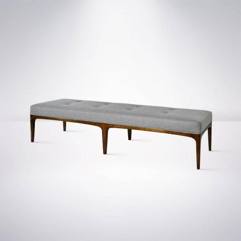Extra Long Paul Mccobb Style Bench In Grey Wool At 1stdibs